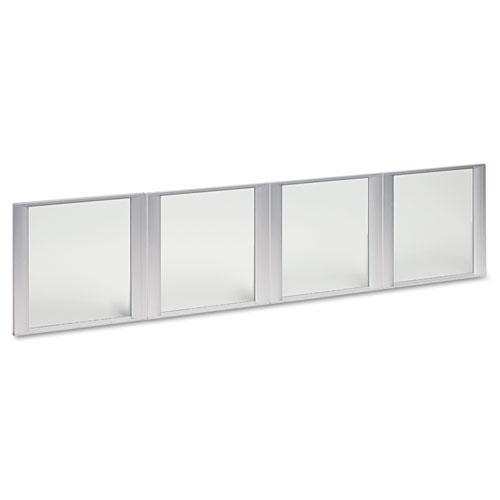 """Glass Door Set With Silver Frame For 72"""" Wide Hutch, 17w x 16h, Clear, 4 Doors/Set. Picture 1"""