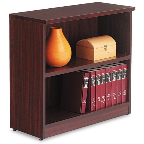 Alera Valencia Series Bookcase, Two-Shelf, 31 3/4w x 14d x 29 1/2h, Mahogany. Picture 1