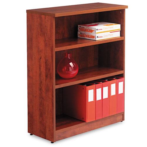 Alera Valencia Series Bookcase, Three-Shelf, 31 3/4w x 14d x 39 3/8h, Med Cherry. Picture 1