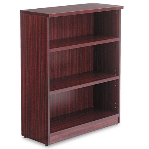 Alera Valencia Series Bookcase, Three-Shelf, 31 3/4w x 14d x 39 3/8h, Mahogany. Picture 2