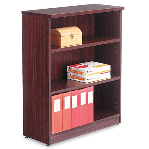 Alera Valencia Series Bookcase, Three-Shelf, 31 3/4w x 14d x 39 3/8h, Mahogany. Picture 1