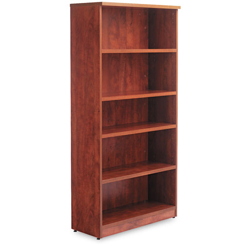 Alera Valencia Series Bookcase, Five-Shelf, 31 3/4w x 14d x 64 3/4h, Medium Cherry. Picture 2