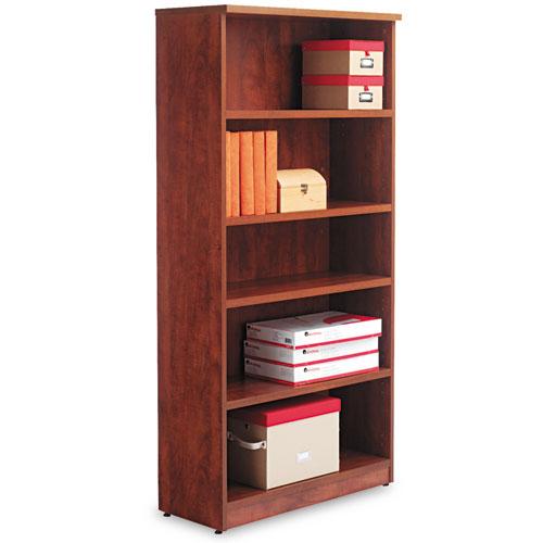 Alera Valencia Series Bookcase, Five-Shelf, 31 3/4w x 14d x 64 3/4h, Medium Cherry. Picture 1