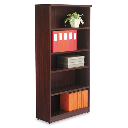 Alera Valencia Series Bookcase, Five-Shelf, 31 3/4w x 14d x 64 3/4h, Mahogany. Picture 1