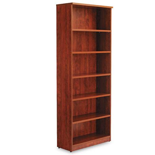 Alera Valencia Series Bookcase, Six-Shelf, 31 3/4w x 14d x 80 1/4h, Medium Cherry. Picture 2