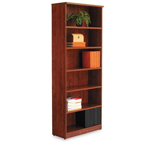 Alera Valencia Series Bookcase, Six-Shelf, 31 3/4w x 14d x 80 1/4h, Medium Cherry. Picture 3
