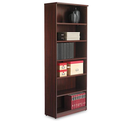 Alera Valencia Series Bookcase, Six-Shelf, 31 3/4w x 14d x 80 1/4h, Mahogany. Picture 1
