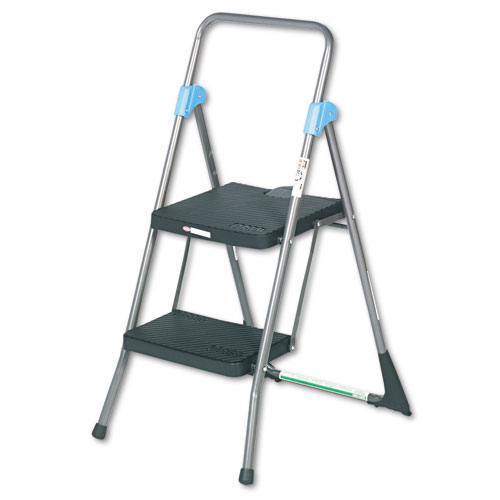 Commercial 2-Step Folding Stool, 300 lb Capacity, 20.5w x 24.75d x 39.5h, Gray. Picture 1