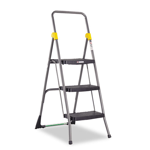 Commercial 3-Step Folding Stool, 300 lb Capacity, 20.5w x 32.63d x 52.13h, Gray. Picture 1