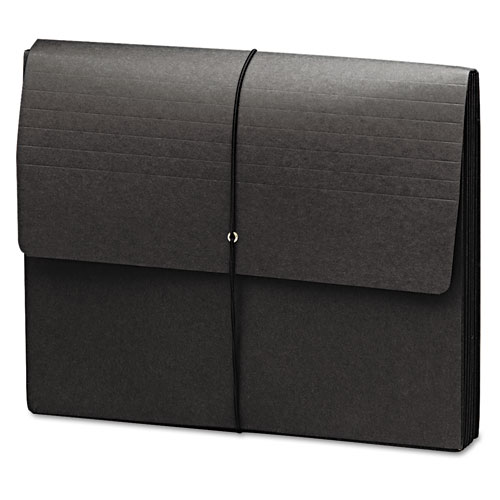 """Extra-Wide Expanding Wallets w/ Elastic Cord, 5.25"""" Expansion, 1 Section, Letter Size, Black, 10/Box. Picture 1"""