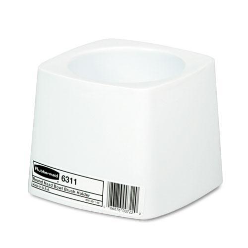 Holder for Toilet Bowl Brush, White Plastic. Picture 1