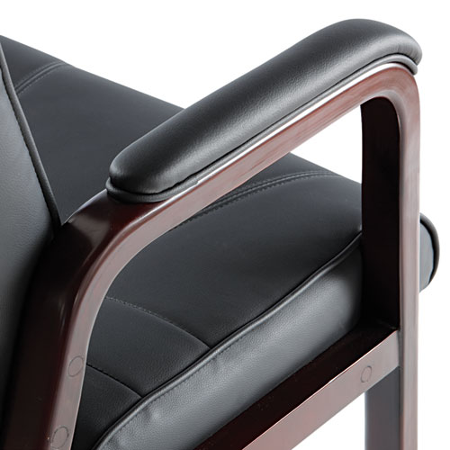 """Alera Madaris Series Bonded Leather Guest Chair with Wood Trim Legs, 24.88"""" x 26"""" x 35"""", Black Seat/Black Back, Mahogany Base. Picture 2"""