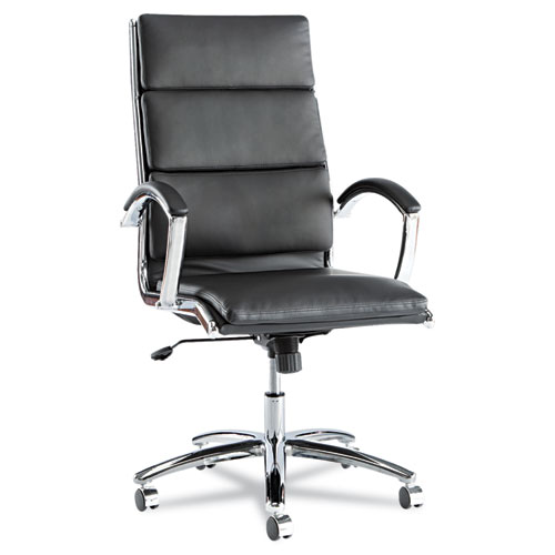 Alera Neratoli High-Back Slim Profile Chair, Supports up to 275 lbs, Black Seat/Black Back, Chrome Base. Picture 1