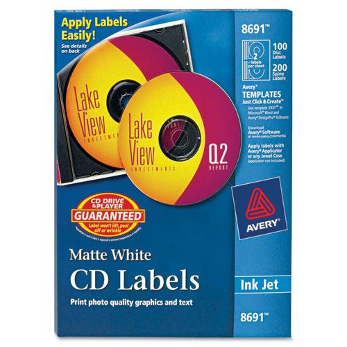 Inkjet CD Labels, Matte White, 100/Pack. Picture 1