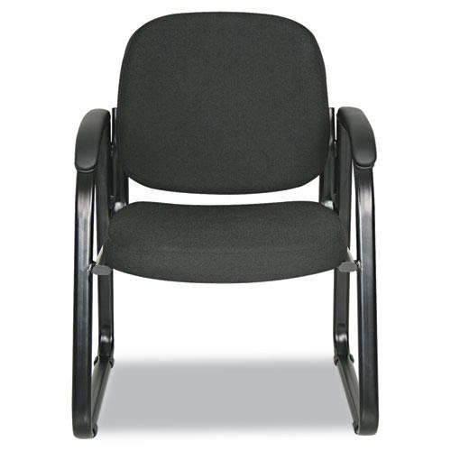 "Alera Genaro Series Half-Back Sled Base Guest Chair, 24.63"" x 26.63"" x 34"", Black Seat/Black Back, Black Base. Picture 2"