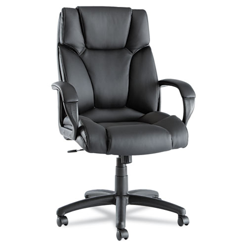 Alera Fraze Executive High-Back Swivel/Tilt Bonded Leather Chair, Supports up to 275 lbs, Black Seat/Black Back, Black Base. Picture 1