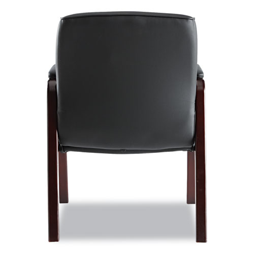 """Alera Madaris Series Bonded Leather Guest Chair with Wood Trim Legs, 24.88"""" x 26"""" x 35"""", Black Seat/Black Back, Mahogany Base. Picture 3"""