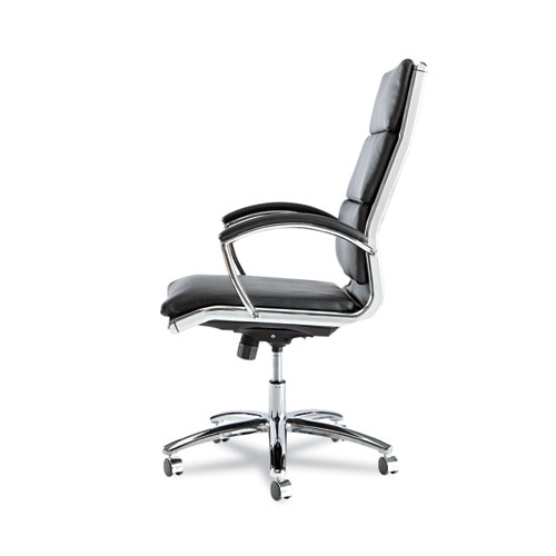 Alera Neratoli High-Back Slim Profile Chair, Supports up to 275 lbs, Black Seat/Black Back, Chrome Base. Picture 4