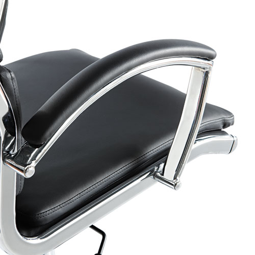 Alera Neratoli High-Back Slim Profile Chair, Supports up to 275 lbs, Black Seat/Black Back, Chrome Base. Picture 2