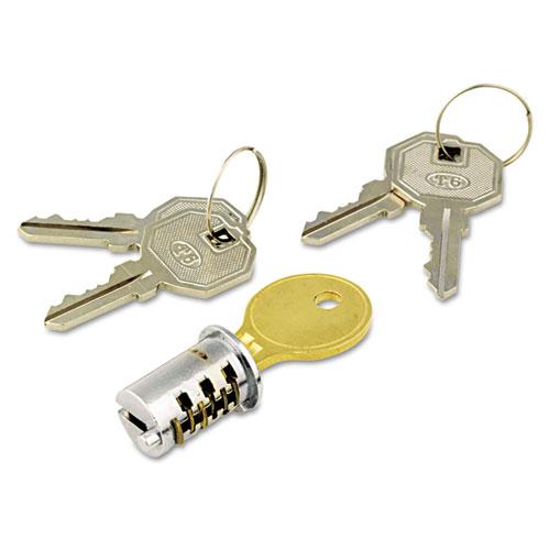 Lock Core For Metal Pedestals, Chrome, Set. Picture 1