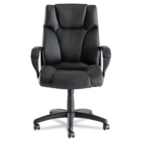 Alera Fraze Executive High-Back Swivel/Tilt Bonded Leather Chair, Supports up to 275 lbs, Black Seat/Black Back, Black Base. Picture 5