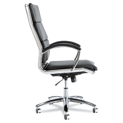 Alera Neratoli High-Back Slim Profile Chair, Supports up to 275 lbs, Black Seat/Black Back, Chrome Base. Picture 3