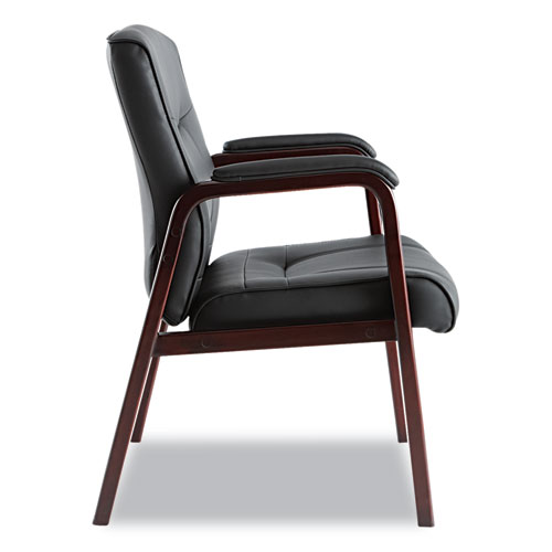 """Alera Madaris Series Bonded Leather Guest Chair with Wood Trim Legs, 24.88"""" x 26"""" x 35"""", Black Seat/Black Back, Mahogany Base. Picture 4"""
