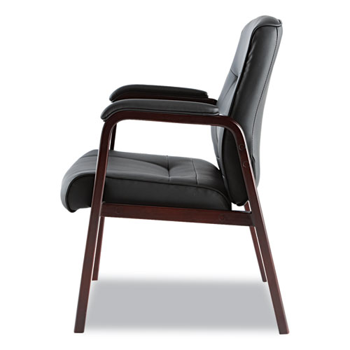 """Alera Madaris Series Bonded Leather Guest Chair with Wood Trim Legs, 24.88"""" x 26"""" x 35"""", Black Seat/Black Back, Mahogany Base. Picture 5"""