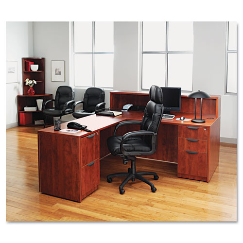 "Alera Valencia Series Straight Front Desk Shell, 71"" x 35.5"" x 29.63"", Medium Cherry. Picture 6"
