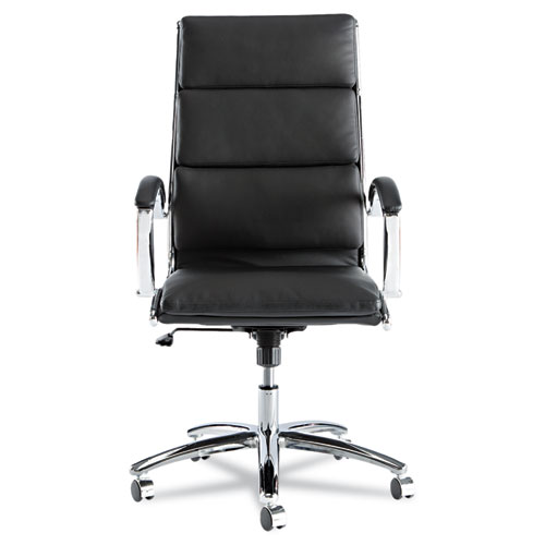 Alera Neratoli High-Back Slim Profile Chair, Supports up to 275 lbs., Black Seat/Black Back, Chrome Base