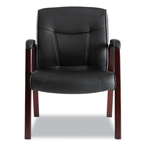 """Alera Madaris Series Bonded Leather Guest Chair with Wood Trim Legs, 24.88"""" x 26"""" x 35"""", Black Seat/Black Back, Mahogany Base. Picture 6"""