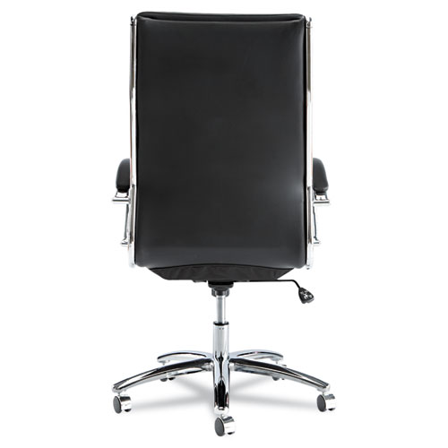 Alera Neratoli High-Back Slim Profile Chair, Supports up to 275 lbs, Black Seat/Black Back, Chrome Base. Picture 5