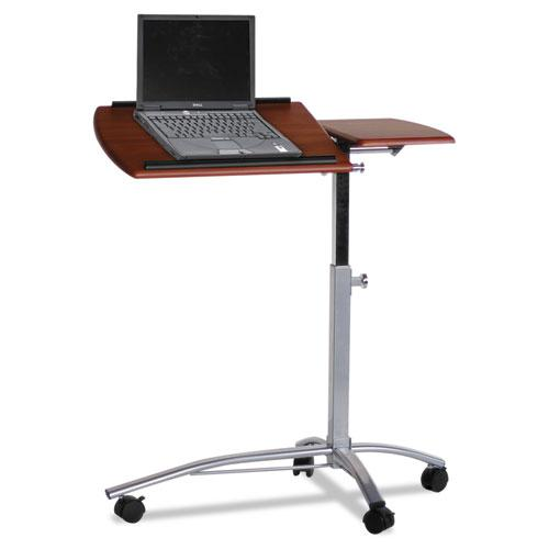 """Laptop Computer Caddy, 29.5"""" x 20"""" x 27"""" to 38"""", Medium Cherry. Picture 1"""