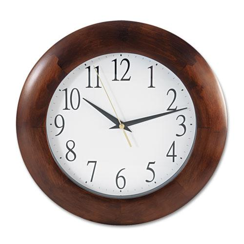 """Round Wood Wall Clock, 12.75"""" Overall Diameter, Cherry Case, 1 AA (sold separately). Picture 1"""