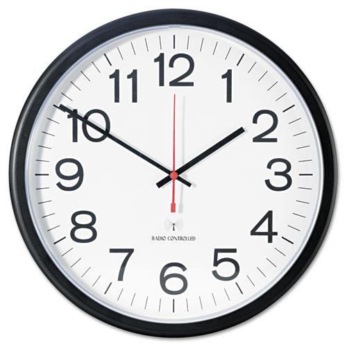 "Deluxe 13 1/2"" Indoor/Outdoor Atomic Clock, 13.5"" Overall Diameter, Black Case, 1 AA (sold separately). Picture 1"
