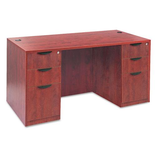 "Alera Valencia Series Straight Front Desk Shell, 59.13"" x 29.5"" x 29.63"", Medium Cherry. Picture 5"