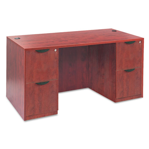 "Alera Valencia Series Straight Front Desk Shell, 59.13"" x 29.5"" x 29.63"", Medium Cherry. Picture 4"