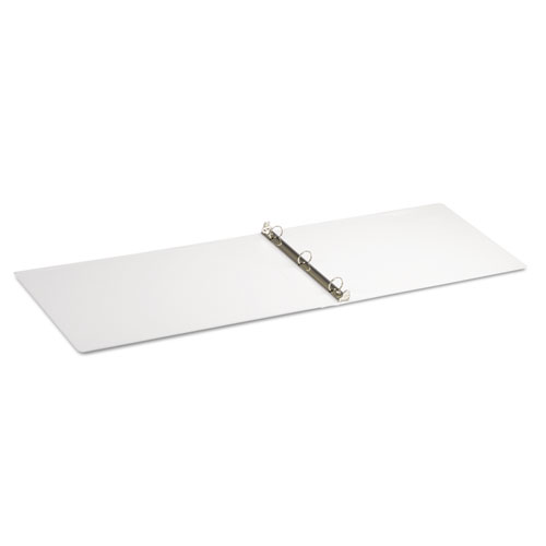 """Ledger-Size Round Ring Binder with Label Holder, 3 Rings, 1"""" Capacity, 11 x 17, White. Picture 2"""