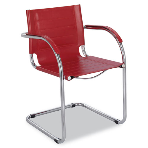 Flaunt Series Guest Chair, Red Leather/Chrome. Picture 1