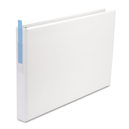 """Ledger-Size Round Ring Binder with Label Holder, 3 Rings, 1"""" Capacity, 11 x 17, White. Picture 1"""