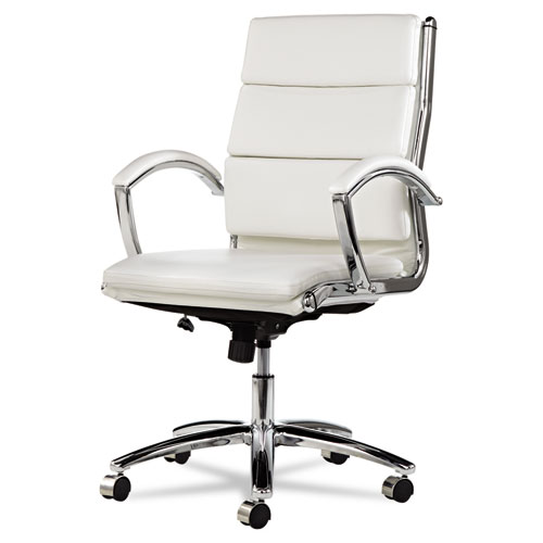 Alera Neratoli Mid-Back Slim Profile Chair, Supports up to 275 lbs, White Seat/White Back, Chrome Base. Picture 6