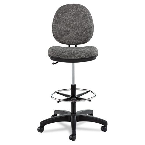 """Alera Interval Series Swivel Task Stool, 33.26"""" Seat Height, Supports up to 275 lbs, Graphite Gray Seat/Back, Black Base. Picture 4"""