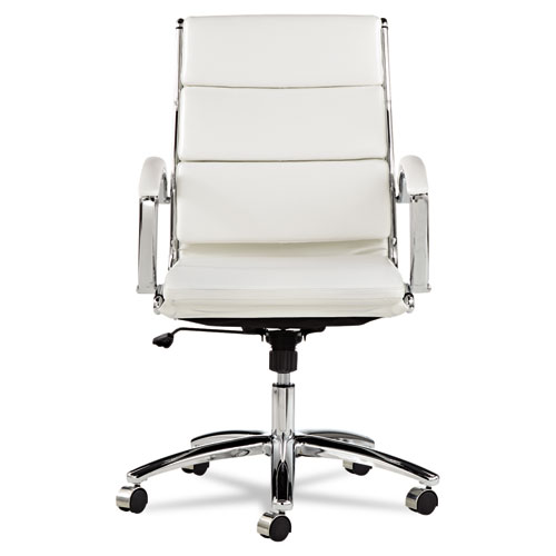 Alera Neratoli Mid-Back Slim Profile Chair, Supports up to 275 lbs, White Seat/White Back, Chrome Base. Picture 7