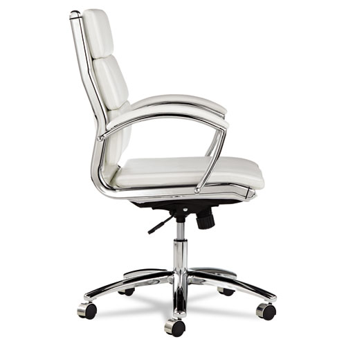 Alera Neratoli Mid-Back Slim Profile Chair, Supports up to 275 lbs, White Seat/White Back, Chrome Base. Picture 2
