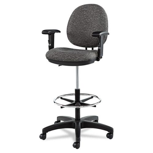 """Alera Interval Series Swivel Task Stool, 33.26"""" Seat Height, Supports up to 275 lbs, Graphite Gray Seat/Back, Black Base. Picture 5"""