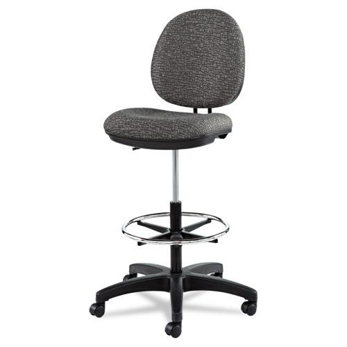 """Alera Interval Series Swivel Task Stool, 33.26"""" Seat Height, Supports up to 275 lbs, Graphite Gray Seat/Back, Black Base. Picture 3"""