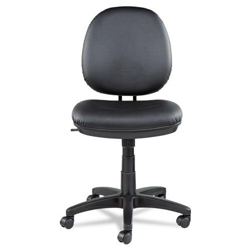 Alera Interval Series Swivel/Tilt Bonded Leather Task Chair, Supports up to 275 lbs, Black Seat/Black Back, Black Base. Picture 1
