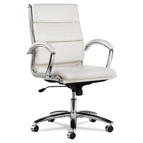 Alera Neratoli Mid-Back Slim Profile Chair, Supports up to 275 lbs, White Seat/White Back, Chrome Base. Picture 1