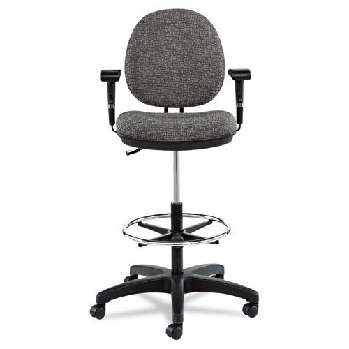 """Alera Interval Series Swivel Task Stool, 33.26"""" Seat Height, Supports up to 275 lbs, Graphite Gray Seat/Back, Black Base. Picture 6"""