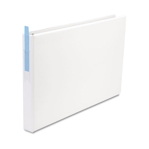 """Ledger-Size Round Ring Binder with Label Holder, 3 Rings, 1"""" Capacity, 11 x 17, White. Picture 3"""
